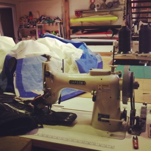 One of the industrial sewing machines